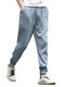 Mens Summer Breathable Cotton Linen Chinese Style Drawstring Solid Color Casual Pants - Blue