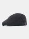 Men Cotton Solid Color Classic All-match Adjustable Forward Cap Berets - Black