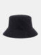 Women & Men Double-sided Technology Warm Casual All-match UV Protection Sunvisor Bucket Hat - Black