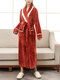 Women Contrast Patchwork Long Sleeve Thicken Warm Belted Robes With Pockets - Red