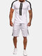 Mens Line Patchwork Sport Suit Elastic Breathable Running Training Sets - White