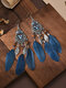 Alloy Vintage Ethnic Color Dipping Oil Heart-shaped Long Feather Earrings - Navy