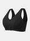 Plus Size Women Solid Color Ribbed Cotton Breathable Wireless Button Front T-Shirt Bra - Black