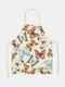 تنظيف بنمط الفراشة Colorful مآزر الطبخ المنزلي مريلة المطبخ للطبخ ارتداء مرايل الكبار من القطن والكتان - #03