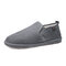 Men Suede Low Top Comfy Slip-on Warm Lining Loafers - Gray