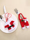 2 Pcs Christmas Knife And Fork Cover Set Christmas Tableware Cover Table Decoration Small Clothes Pants - Plastic button