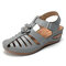 LOSTISY Hollow Out Flower Hook Loop Comfortable Light Wedges Sandals - Gray