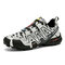 Men Comfy Camo Pattern Lace-up Hard Wearing Non Slip Hiking Shoes - Gray