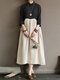 Casual Patchwork Stand Collar Frog Button Plus Size Dress - Black