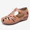 LOSTISY Women Hollow Comfy Wearable Beach Casual Wedges Sandals - Orange