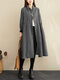 Plaid Print Patchwork Button Long Sleeve Casual Dress for Women - Black