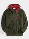 Mens Patchwork Casual Fleece Loose Pouch Pocket Teddy Hoodie - Green