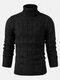 Mens Twisted Knitted High Neck Solid Color Casual Basic Sweater - Black