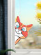 Cute Animal Pattern Hanging Decor Cat/Dog Print Sun Catcher Window Hanging Ornament Pendant For Window Wall Door - Red