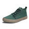 Men Comfy Ice Silk Cloth Lace Up Soft High Top Sneakers - Green