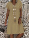 Solid Color Short Sleeve Casual Loose Dress For Women - Khaki