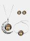 3 Pcs Printed Men Women Jewelry Set Wearing Garland Hollow Half Moon Necklace Bracelet Earring - #10