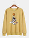 Mens Cartoon Astronaut Chest Print Solid Loose Daily Pullover Sweatshirts - Yellow