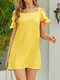 Off Shoulder Strap Solid Color Ruffle Casual Dress For Women - Yellow