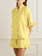 Solid Color Button Ruffle Half Sleeve Casual Set - Yellow