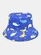 ユニセックスコットンオーバーレイ漫画クジラプラネットロケットコーラルプリント両面ウェアラブルファッションバケットハット - #01