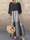 Polka Dot Plaid Patchwork Long Sleeve Plus Size Maxi Dress - Schwarz