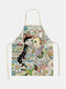 Cartoon Color Cat Pattern Cleaning Colorful Aprons Home Cooking Kitchen Apron Cook Wear Cotton Linen Adult Bibs - #05