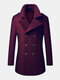 Mens Woolen Double Breasted Lapel Collar British Style Overcoats - Red