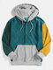 Mens Multi-Color Block Patchwork Button Corduroy Hoodies With Front Pocket - Green