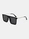 メンズ スクエア フル フレーム ナロー サイド UV 保護 シンプル ファッション サングラス - 黒