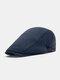 Men Cotton Solid Color Casual All-match Beret Flat Cap - Blue
