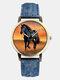 Casual All-Match Denim Strap Men Watch Black Horse Desert Dial Women Quartz Watch - Blue