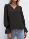 Guipure Lace Solid V-neck Long Sleeve Blouse for Women - Black