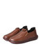 Women Casual Elastic Slip-On Soft Comfy Hand Stitching Flat Shoes - Dark Brown
