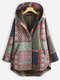 Bohenmia Print Patchwork Long Sleeve Hooded Plus Size Coat - Green