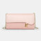 Women PU Chains  6.3 Inch Phone Solid Letter Crossbody Bag - Pink