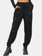 Solid Color Drawstring Pocket Ripped Long Casual Pants for Women - Black