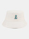 Unisex Cotton Solid Color Cartoon Little Dinosaur Embroidery All-match Sun Protection Bucket Hat - White