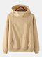 Mens Solid Color Plus Velvet Cotton Overhead Drawstring Pullover Hoodie - Apricot