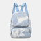 Women Oxford Anti theft Large Capacity Tie Dye Backpack Travel Bag - Blue