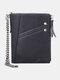 Men Vintage Chains RFID Genuine Leather Cow Leather Multi-card Slots Coin Purse Wallet - Black