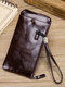 Men PU Leather Money Clips Card-slots Multifunction 6.5 Inch Phone Bag Wallet - Coffee