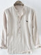 Mens Cotton Dog Embroidery Striped Printed Breathable Long Sleeve Henley Shirt - Beige