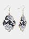 Vintage Baroque Alloy PU Leather Geometric-shape Argyle Floral Printing Earrings - #01