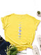 Moon Print Short Sleeve O-neck Loose Casual T-Shirt For Women - Yellow