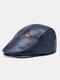 Collrown Men Faux Leather Solid Color Flat Cap Retro Casual Outdoor Forward Hat Beret Hat - Blue