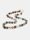 Ethnic Semi-precious Stone Beaded Adjustable Thick Round Bead Necklace - #05