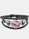 Vintage Dragonfly Calico Pattern Geometric-shape Hand-braided Beaded Glass PU Alloy Multi-layer Bracelet - #04