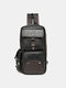 Vintage Two Pockets Front Magnetic Button Convertible Strap Crossbody Chest Bag - Black