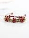 Ceramics Alloy Vintage Ethnic Flower Glaze Full Bead Bracelet Double Layer Bracelet - Red